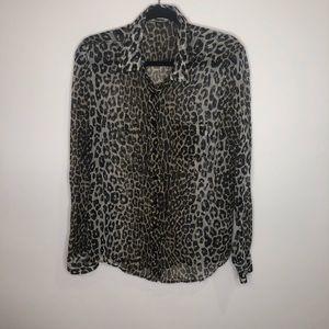Equipment Cheetah Front Button Blouse